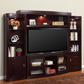 High Quality Parker House Premier Biscayne 4 Piece Entertainment Wall   Merlot