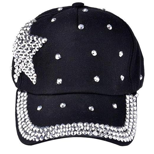 0aeed1056473f5 Hot Sale Unisex Boy Girls Adjustable Baseball Cap Rhinestone Star Shaped  Baby Snapback Hat (Black