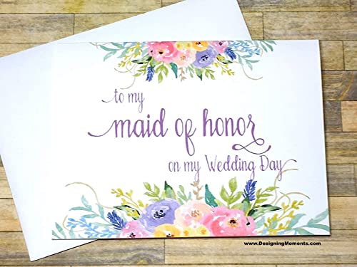 gift for her necklace To my matron of honor on my wedding day floral card for matron of honor to my moh card wedding day card