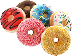 GiftExpress 6 pcs Realistic Artificial Toy Donuts, Scented Fake Donuts, Assorted Realistic Doughnuts Toy Cakes Fake Desserts Decoration Toys, Donghnut Party Decoration, Prop Food