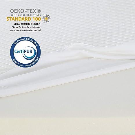RECCI sobre colchón con memoria de forma de 6 cm, sobrecolchón de 90 x 190 cm, colchón de espuma con funda de bambú hipoalergénico, extraíble y ...
