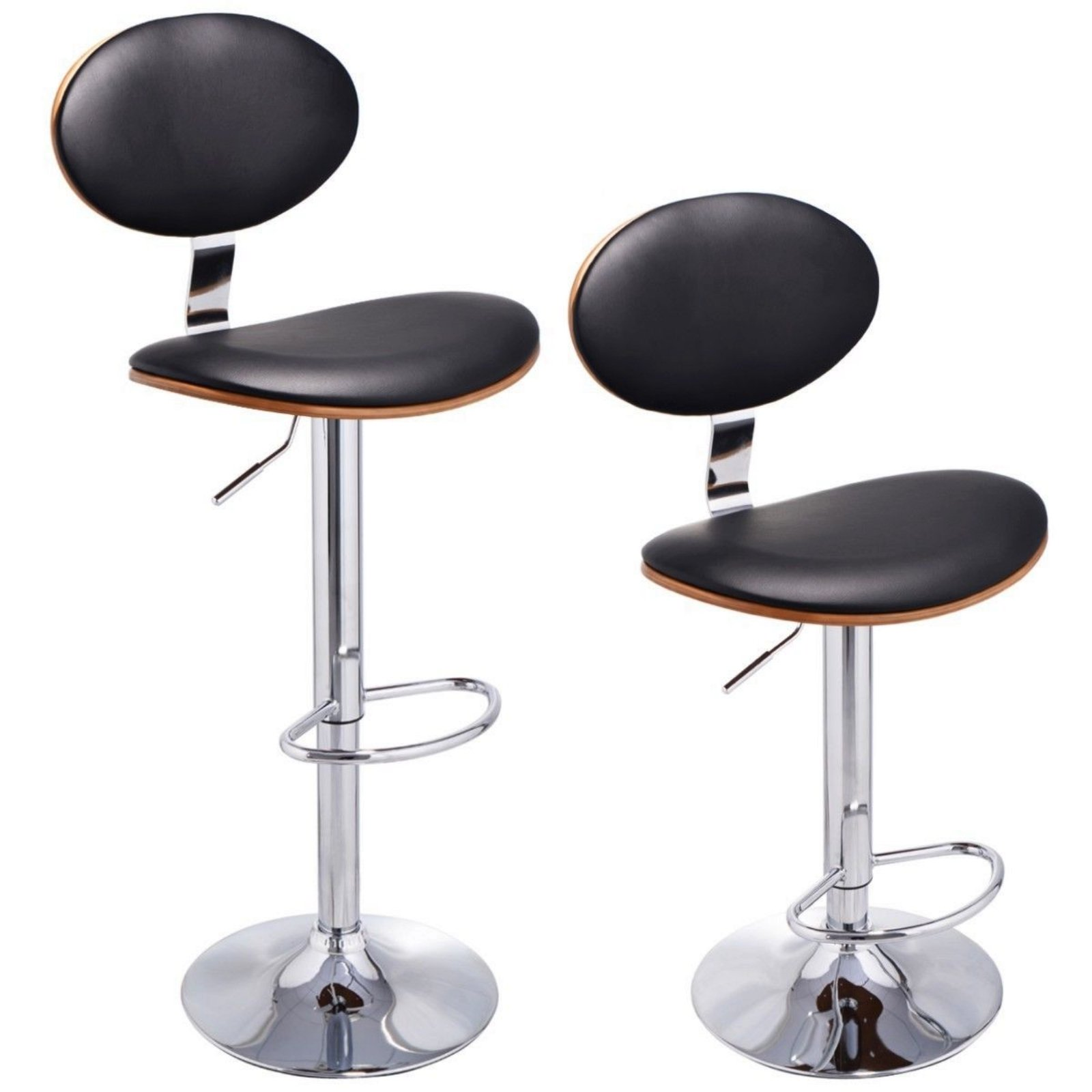 Set of 2 Bentwood Bar Stools Ageing resisting PU Leather Swivel Modern Barstools Adjustable Height New #725