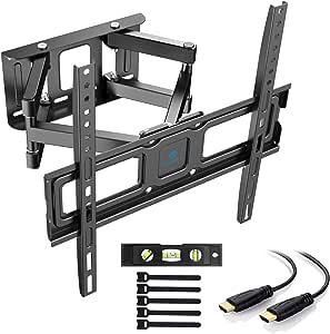 PERLESMITH TV beugel ter bevestiging aan muren, vol bewegelijke TV muurbeugel geschikt voor de meeste 32-55 inch flat en curved TV's, houdt tot wel 45 kg, VESA 400x400mm, inclusief HDMI kabel en waterpas (32-55 inch)