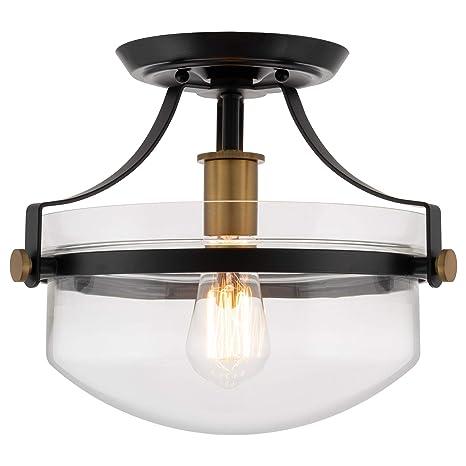 Kira Home Zurich 12 Rustic Farmhouse Semi Flush Mount Ceiling Light Glass Shade Warm Brass Accents Black Finish