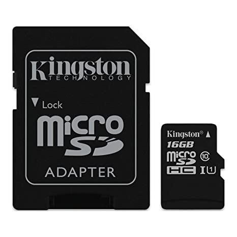 Kingston Digital 16GB microSDHC Class 10 UHS-I 45MB/s Read Card with SD Adapter (SDC10G2/16GB)