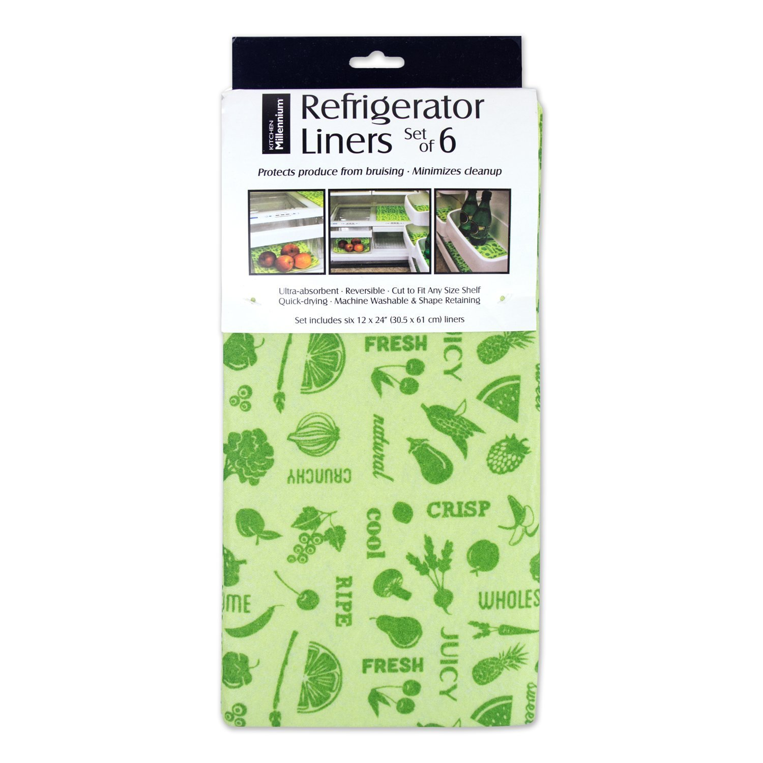 "DII Non Adhesive Cut to Fit Machine Washable Fridge Liner For Drawers, Bins, Trays, Protect Produce, Set of 6, 12 x 24"" - Green"