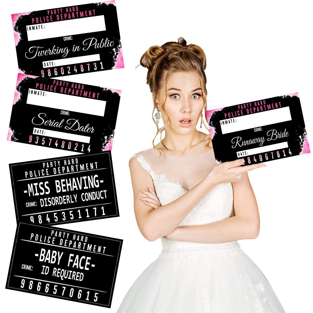 Bachelorette Mugshot Signs - (20 Cards / 40 Designs) by MITO INC
