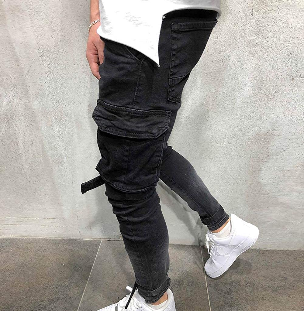Tomatoa M/änner Slim Fit Schwarz Stretch Jeanshose Jeans-Hose Denim Jeans Hose Outdoorhose Herren Hose Sweat Pants Hosen Sporthose