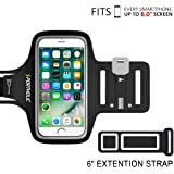 PORTHOLIC® Brazalete deportivo Para Deportes 6.0 pulgadas für iPhone 7 Plus 6 Plus 6S Plus,Galaxy S8/S7/S6 edge,Note 3/4/5/6 LG g6/5 Huawei Bq One Plus Sony Nexus HTC Con soporte para llaves, cables y tarjetas hasta 6.0 pulgadas (negro+)
