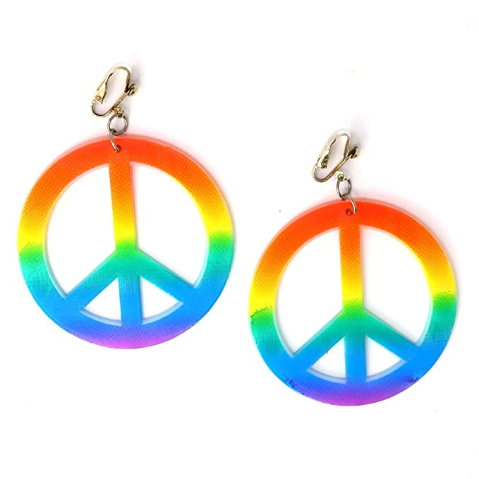Vintage Style Jewelry, Retro Jewelry Skeleteen Hippie Style Peace Earrings - 1960s Hipster Fashion Peace Ear Rings - 1 Pair $5.99 AT vintagedancer.com