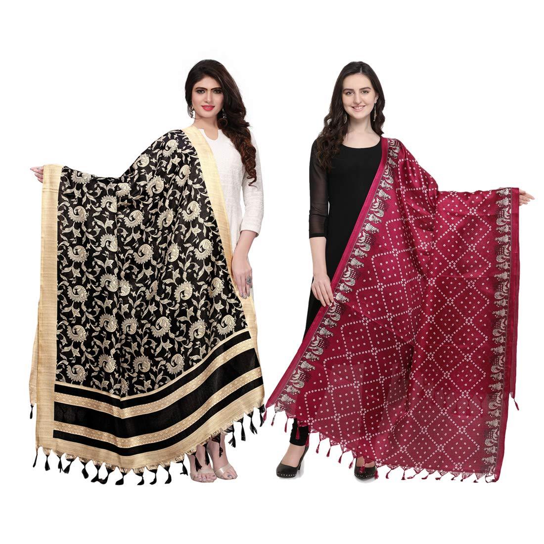 Kanchnar Women's Bhagalpuri Silk Dupatta (Pack of 2)