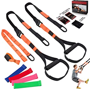 FLPLX Bodyweight Resistance Training Straps, Complete Home Gym Fitness Trainer kit for Full-Body Workout, Included Door Anchor, Extension Strap, 16 Week Program, Fitness Guide