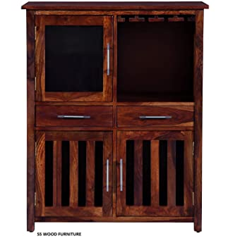 SS WOOD Furniture Solid Wood [ Sheesham Wood ] Home Bar Furniture Bar Cabinet in Honey Oak Finish by Made Wood