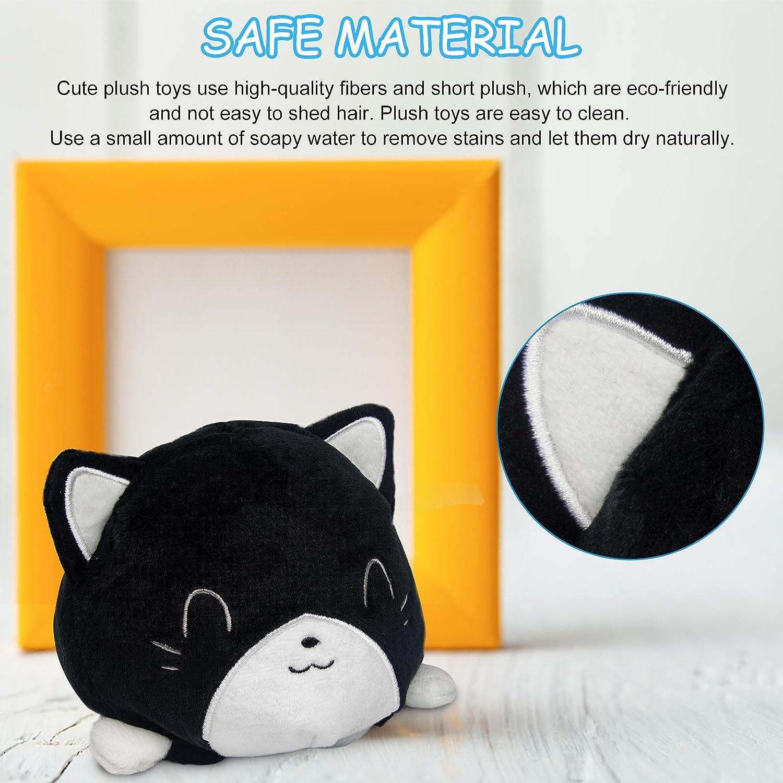 Cute Cat Mood Plushie Stuffed for Adult Kids Girl Boy Bday Xmas Gift (Orange) Double-Sided Different Emotions Animal Plush Reversible Flip Plush Toy