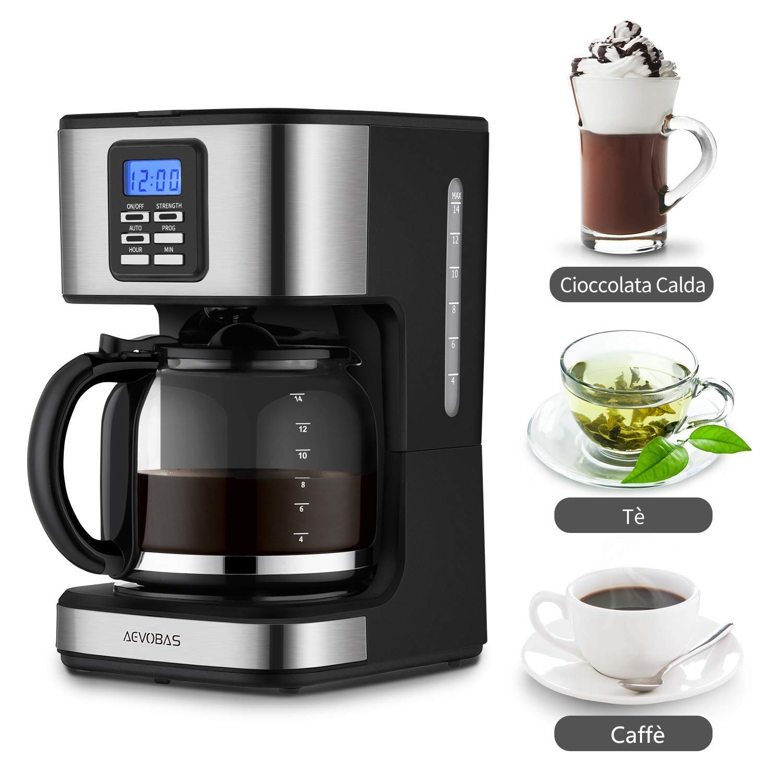 AEVOBAS Cafetera de Filtro, Cafetera de Goteo Programable para 12 Tazas, Máquina de café Filtro Permanente, Sistema anti-gotas, cierre automático (cafetera ...