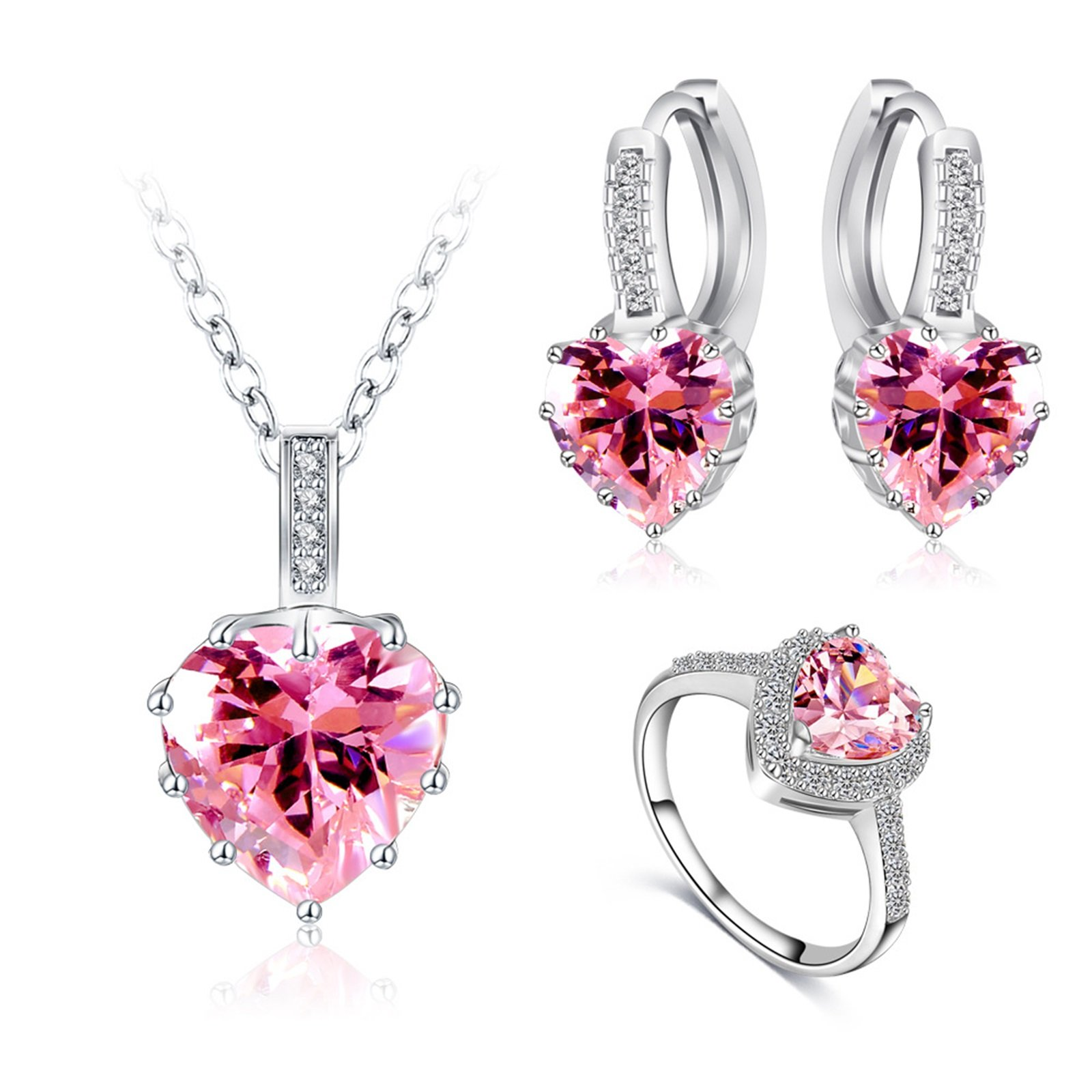 AnaZoz Jewelry Set Pink Zirconia Heart Pendant Necklace Hoop Earring and Wedding Ring Set for Women Wedding Jewelry with Gift Box Size 6