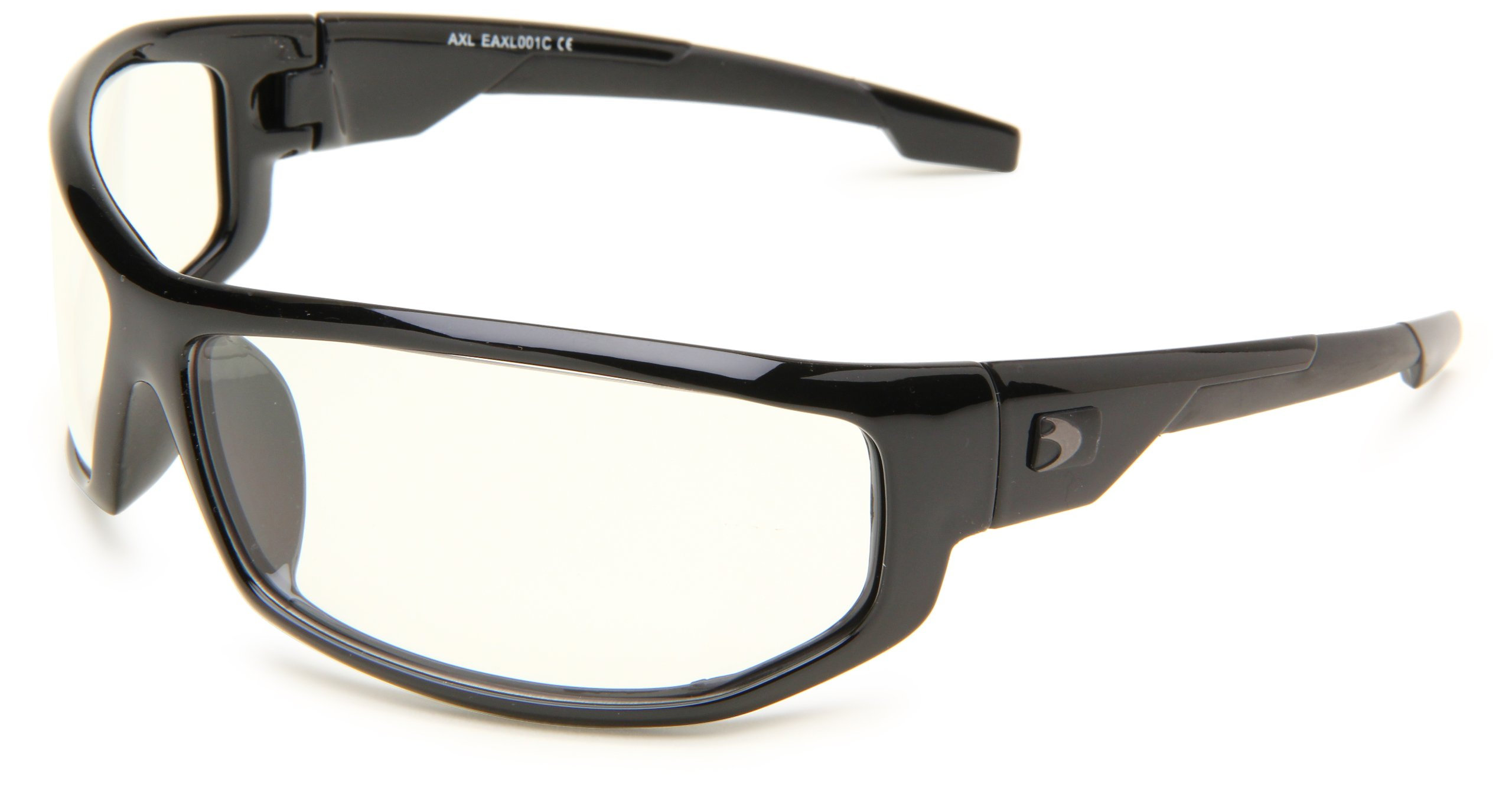 Bobster AXL Wrap Sunglasses, Black Frame/Clear Anti-fog Lens