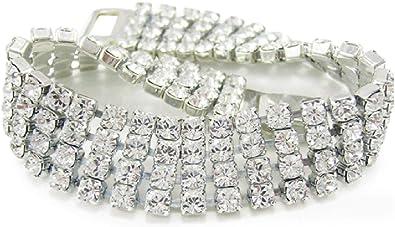 LJ Designs Four Strand Crystal Diamante Bracelet - Made With Crystals From  Swarovski
