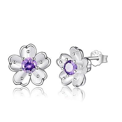 Damen Ohrstecker aus 925 Sterling Silber   Kristall, Blumen Silber  Nickelfrei Ohrringe Stecker in einer d527361534