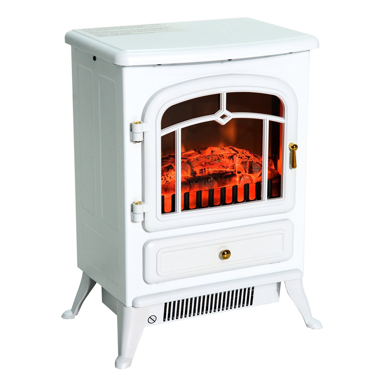 HomCom 16'' 1500W Free Standing Electric Wood Stove Fireplace Heater - White