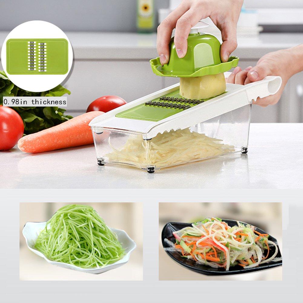 Mandoline Slicer and Dicer Kitchen Vegetable Slicer with 5 Interchangeable Stainless Steel Blades Food Fruit Julienne Slicer Cutter Chopper Dishwasher Safe by Mandoline Slicer (Image #4)