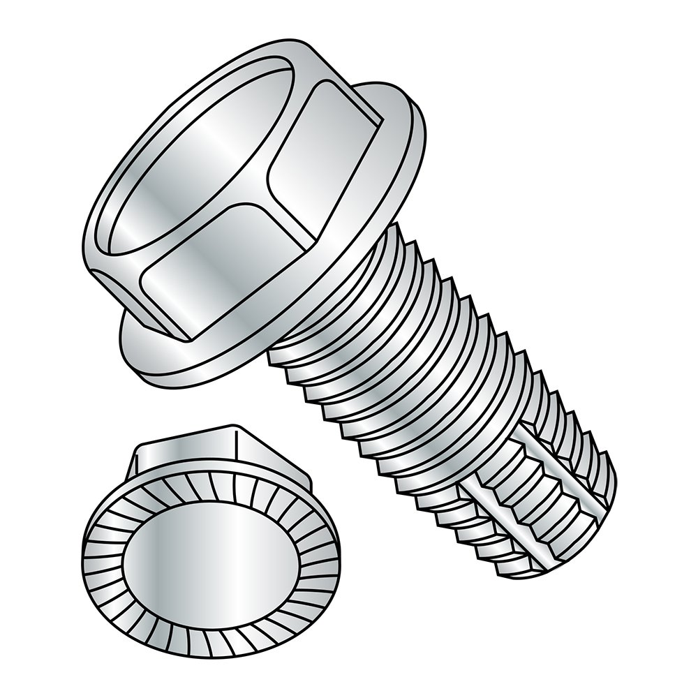 Steel Thread Cutting Screw, Zinc Plated Finish, Serrated Hex Washer Head, Type F, 1/4''-20 Thread Size, 1/2'' Length (Pack of 50)