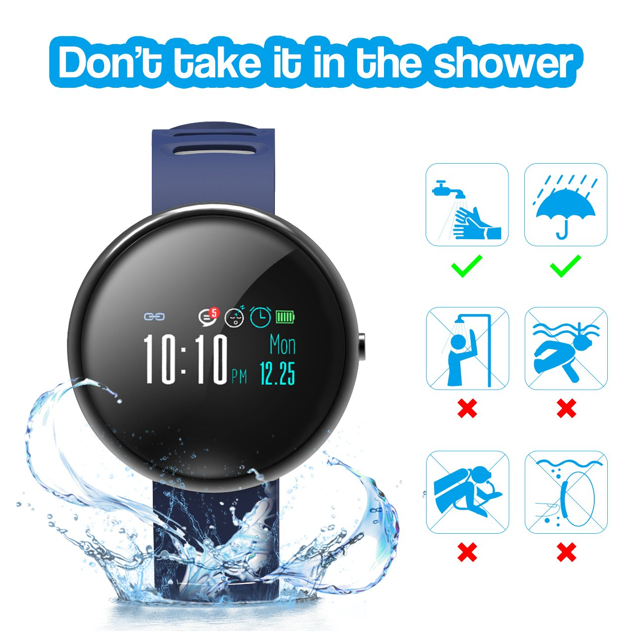 ROADTEC Smart Fitness Tracker Watch with Heart Rate Monitor,2.5D Color Screen IP67 Waterproof Activity Tracker with Calorie Pedometer Sleep Monitor for Kids Men (Blue+White)