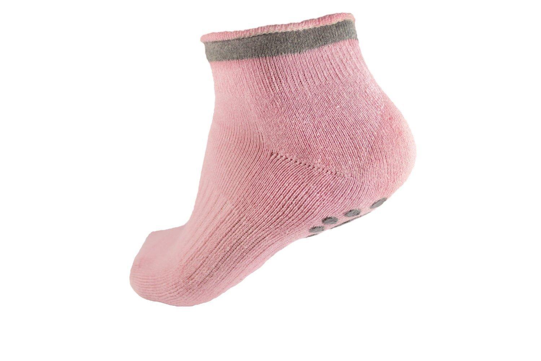 Calzini di yoga invernale a scivolamento senza scivoloni con grip Calzino in dotazione in silicone di cotone per donne Calze di balletto Calze Pilates BigNoseDeer 2 paia nero, rosa