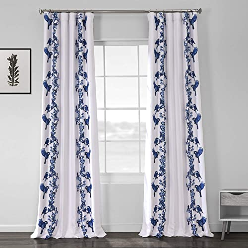 HPD Half Price Drapes BOCH-DLN199-108 Printed Linen Textured Blackout Curtain 1 Panel , 50 X 108, Sparrow Blue