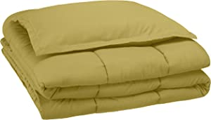 AmazonBasics Kid's Comforter Set - Soft, Easy-Wash Microfiber - Twin, Mossy Green