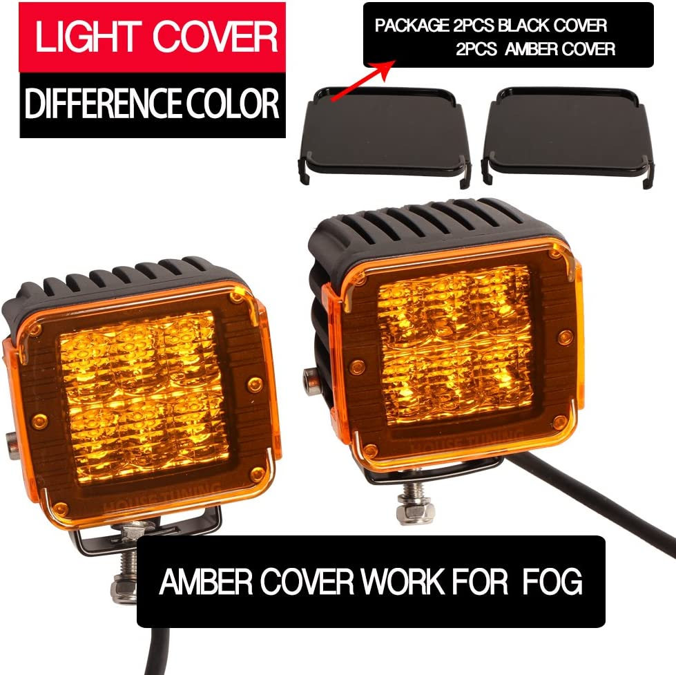 Pack of 2 HOUSE TUNING LED Pods 60Watt 3inch,Off Road LED Cube Light Driving Beam with Wiring Harness Black Amber Cover
