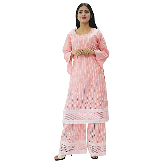 7a37304d178e1 Hautemoda Women s Cotton Kurti with Plazo Pant Suit Set  (A-16-Ad011St01Pc Peach L)
