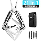 WETOLS 21-in-1 Multi-Pliers, Multi-Tools, Foldable and Self-Locking, with Hard Stainless Steel, Multitool Used as Pliers, Knife, Bottle Opener, Screwdriver, Sickle etc, WE-182…