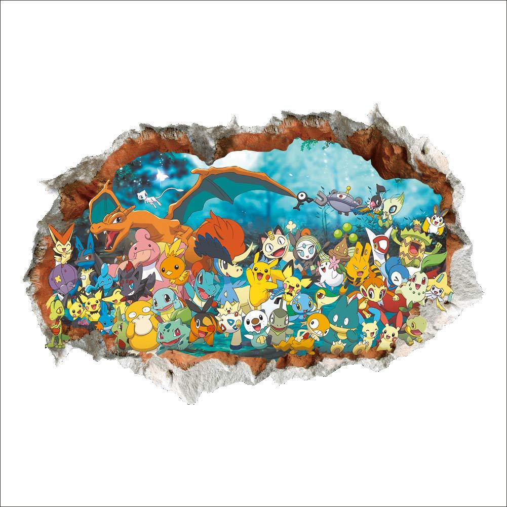 Stickers Muraux Pok/émon Pikachu Autocollant Mural pour Chambre Enfants B/éb/é D/écoration Murale Pok/émon Pikachu Peel et Stick Stickers Muraux Autocollant Pokemon Sticker Mural Pokemon 3D