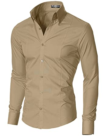 Slim Fit Dress Shirts for Men Long Sleeve Button Down Collar by ...