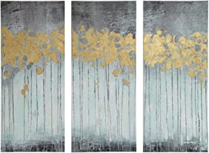 Madison Park Evening Forest Wall Art Hand Embellished Abstract Stretched Canvas Painting Living Room Décor, Grey, Gold