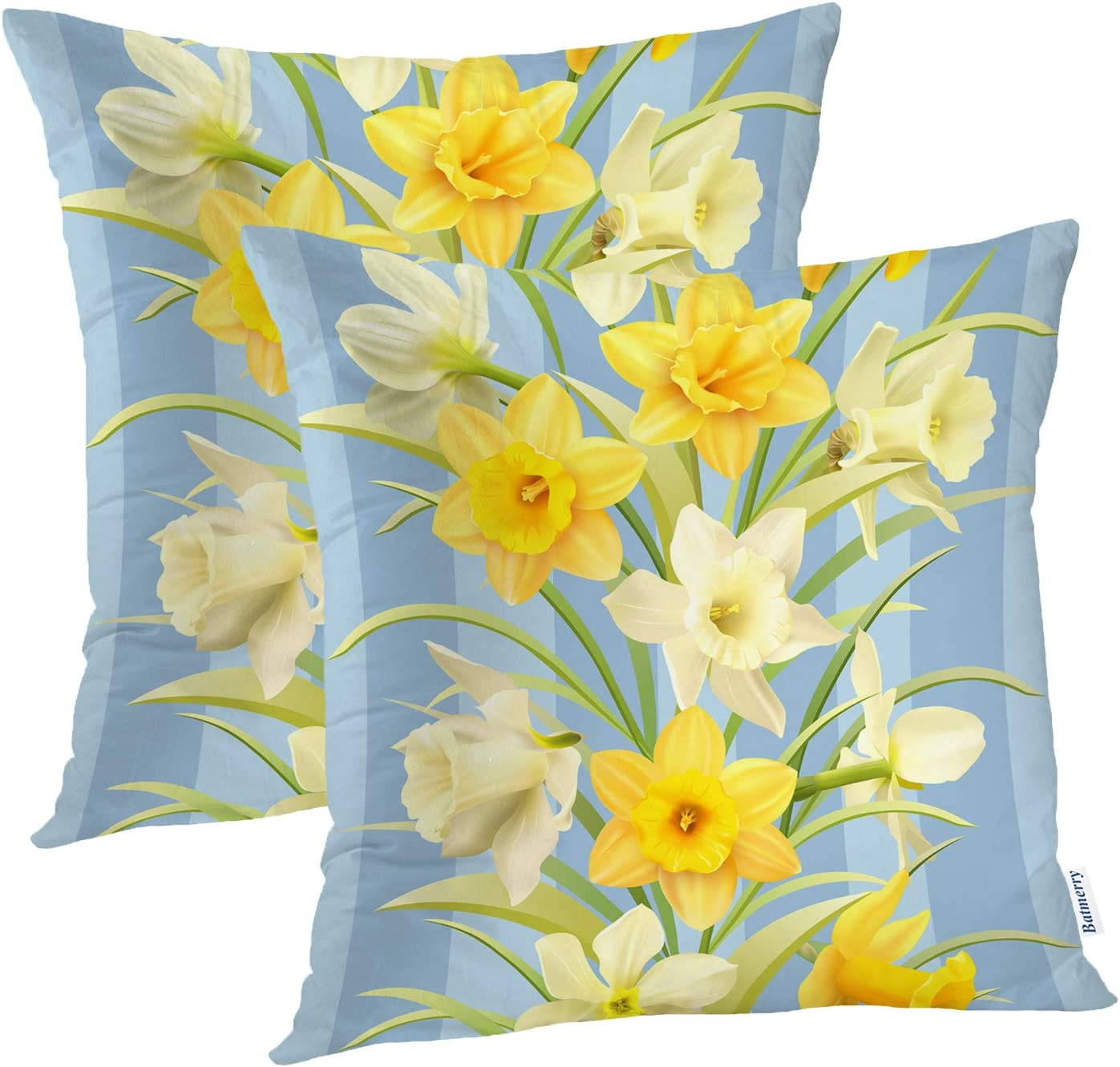 Amazon Com Batmerry Spring Pillows Decorative Throw Pillow Covers 18x18 Inch Set Of 2 Spring White Daffodils Flowers Delicate Pattern Double Sided Square Pillow Cases Pillowcase Sofa Cushion Home Kitchen