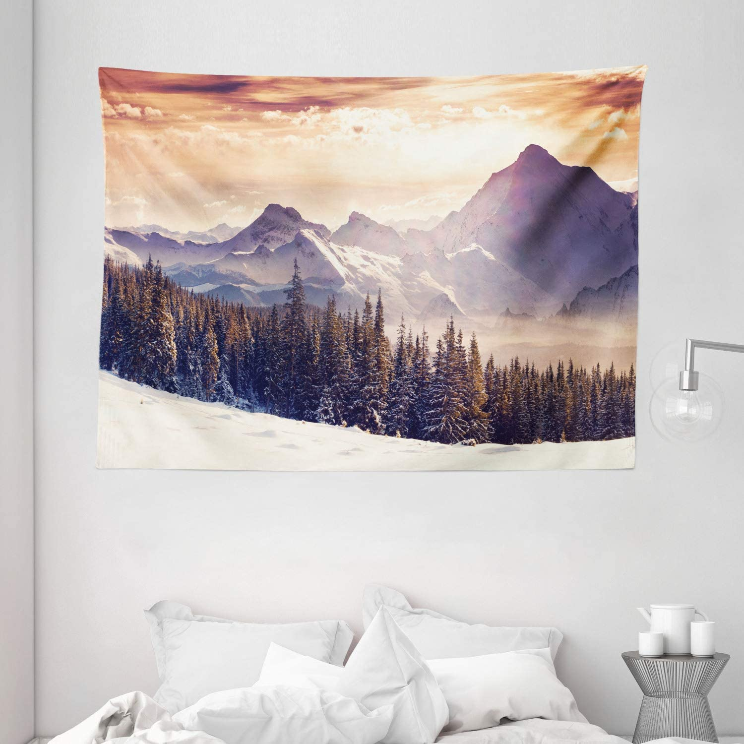"""Ambesonne Nature Tapestry, Evening Winter Landscape with Dramatic Surreal Overcast Sky and Majestic Mountains, Wide Wall Hanging for Bedroom Living Room Dorm, 80"""" X 60"""", Purple Orange"""