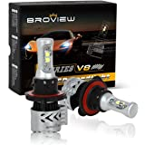 BROVIEW V8 LED Headlight Bulbs w/ Clear Arc-Beam Kit 72W 12,000LM 6500K White Cree LED Headlights Conversion for Replace HID & XENON Headlights - (2pcs/set)(H13 9008)