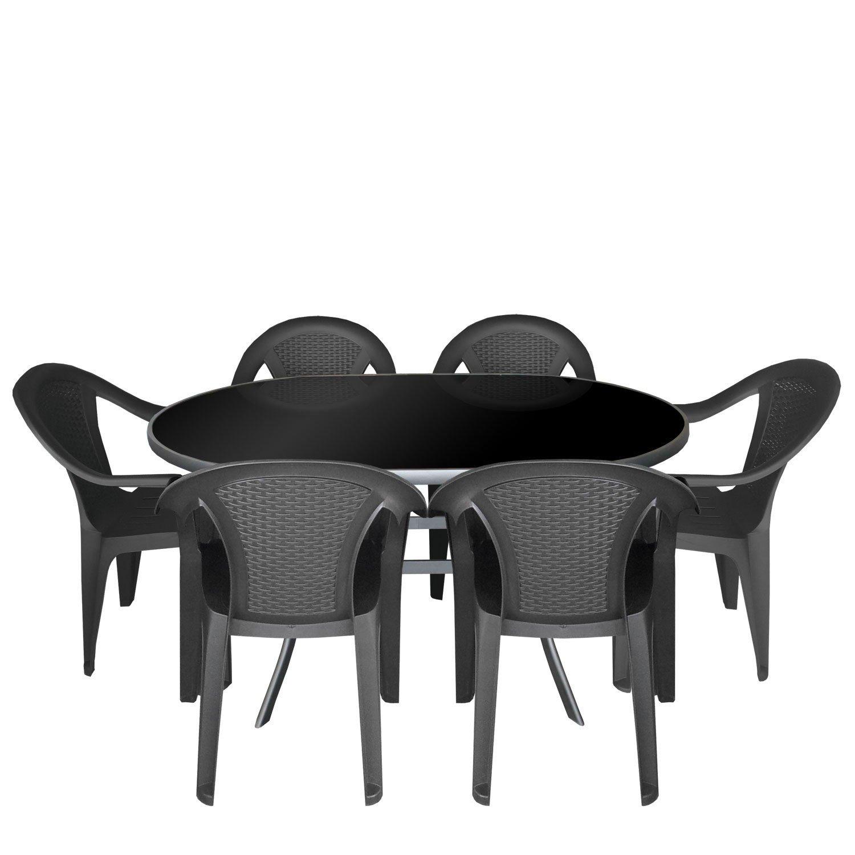 7tlg. Gartengarnitur Alu Glastisch mit schwarzer Glasplatte 140x90cm ...
