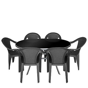Amazon.de: 7tlg. Gartengarnitur Alu Glastisch mit schwarzer ...