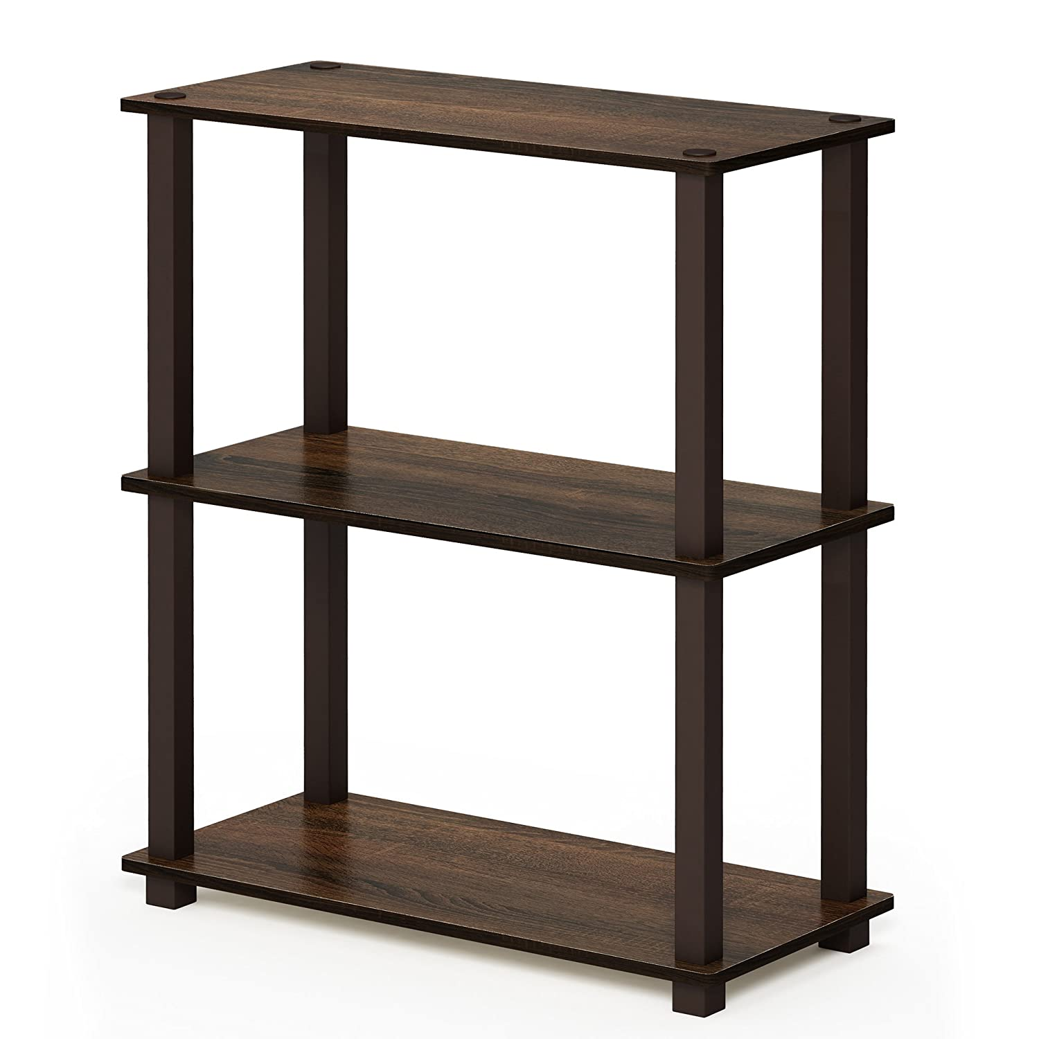 Walnut Brown 3-Tier Square Tubes Furinno 17091BE WH Turn-N-Tube 5-Tier Compact Multipurpose Shelf, Single, Beech White
