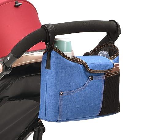 Feoya Bolso Organizador Silla de Paseo 900D Oxford Inpermeable Bolsa de Cochecito Carrito de Bebé Colgantes con Velcro - Azul