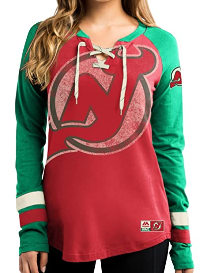 Majestic New Jersey Devils Women s Red Vintage Hip Check Lace Up V-Neck  Shirt ( e613f1d5b