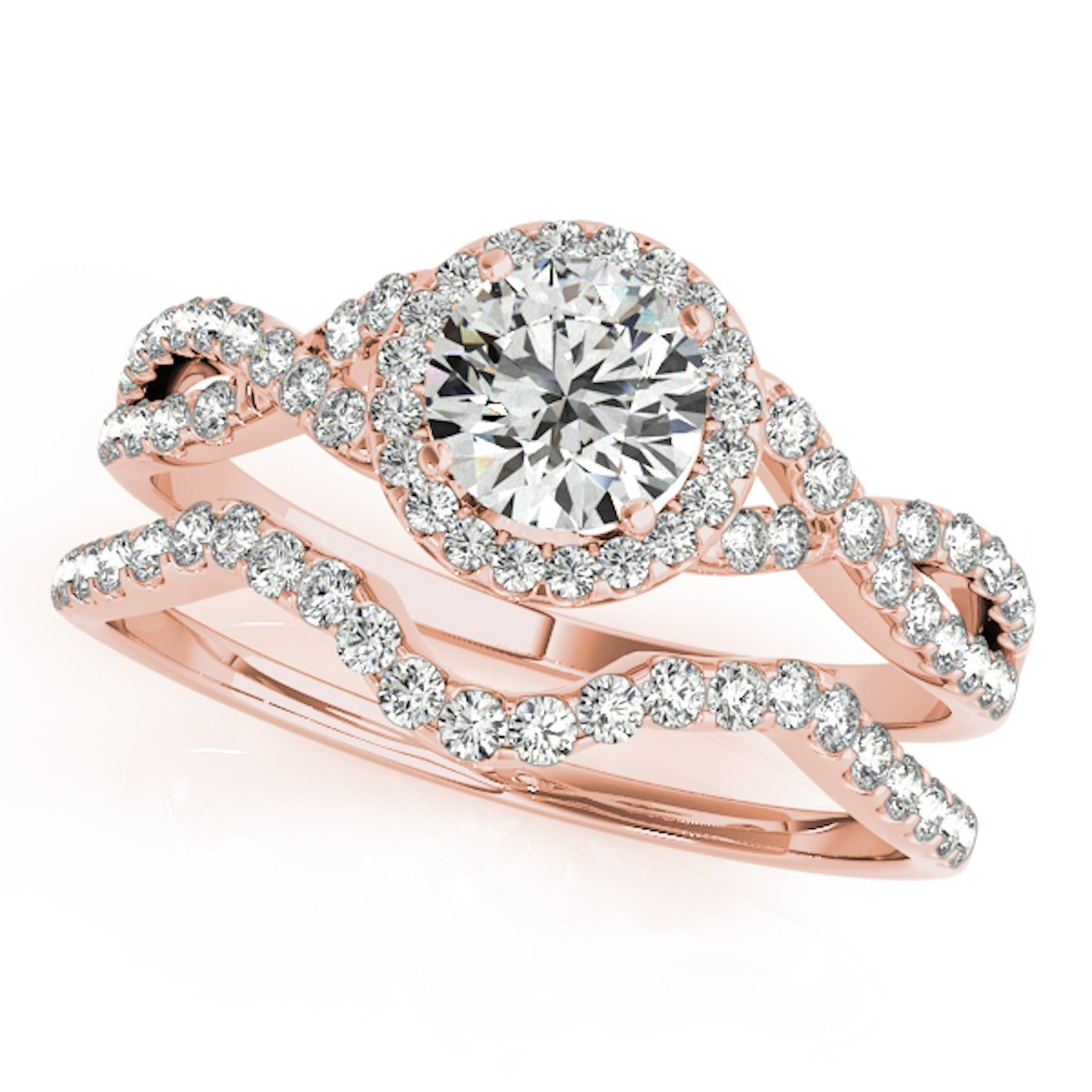 0.50 Carat Halo Daimond Engagement Bridal Ring Set 14K Solid Rose Gold