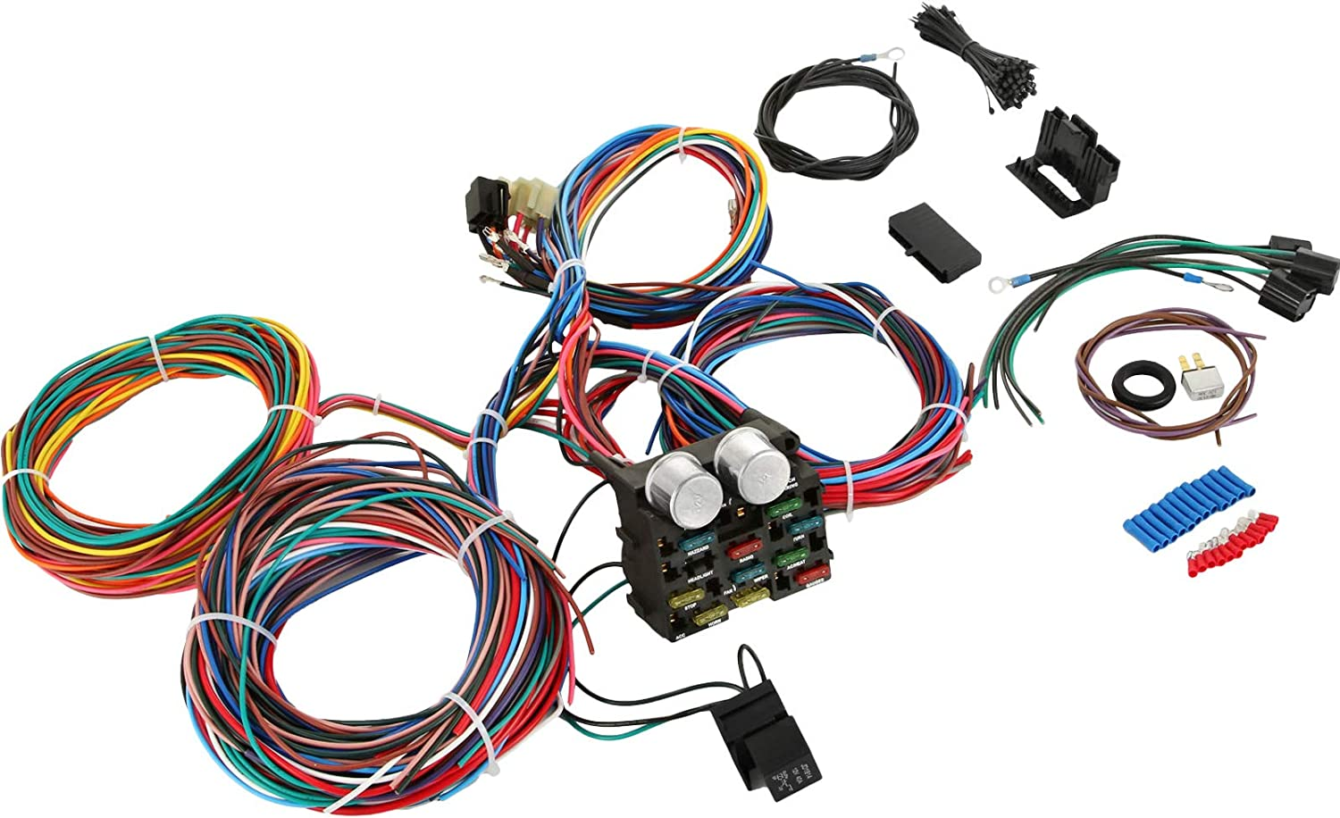 Amazon.com: Mophorn Standalone Wiring Harness, Universal Hot Rod Wiring  Harness, Extra Long Wiring Harness Kit with 17 Fuse Blocks and 12 Circuits,  Professional Wiring Harness for Hot Rod/ Street Rod XL Wires:Amazon.com