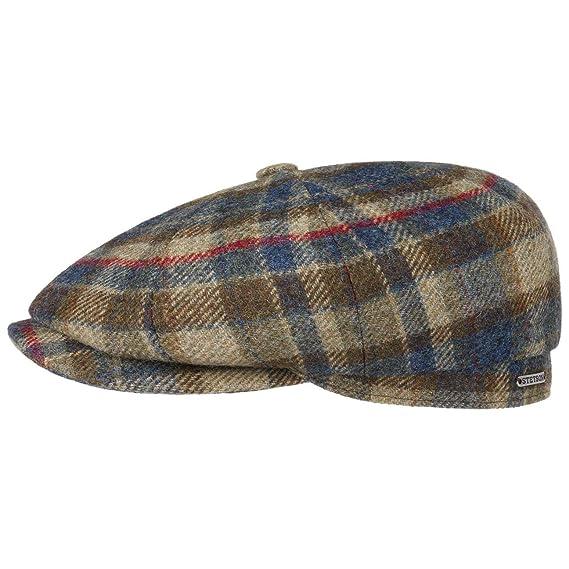 3d54e164a2465 Stetson Hatteras Shetland Check Flat Cap Wool Ivy hat  Amazon.co.uk   Clothing
