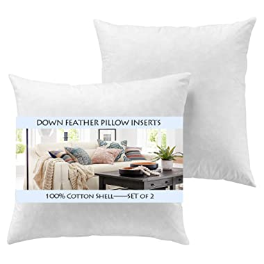 YesterdayHome Set of 2-26x26 Euro Pillow Inserts-Down Feather Pillow Inserts-White