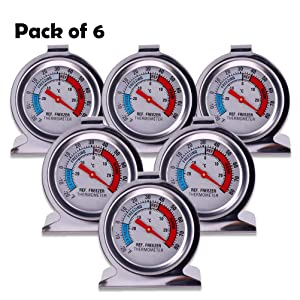 Refrigerator Freezer Large Dial Thermometer 6 Pack Classic Series Fridge Freezer Alarm Thermometer Internal Temperature Gauge for Kitchen Refrigerator