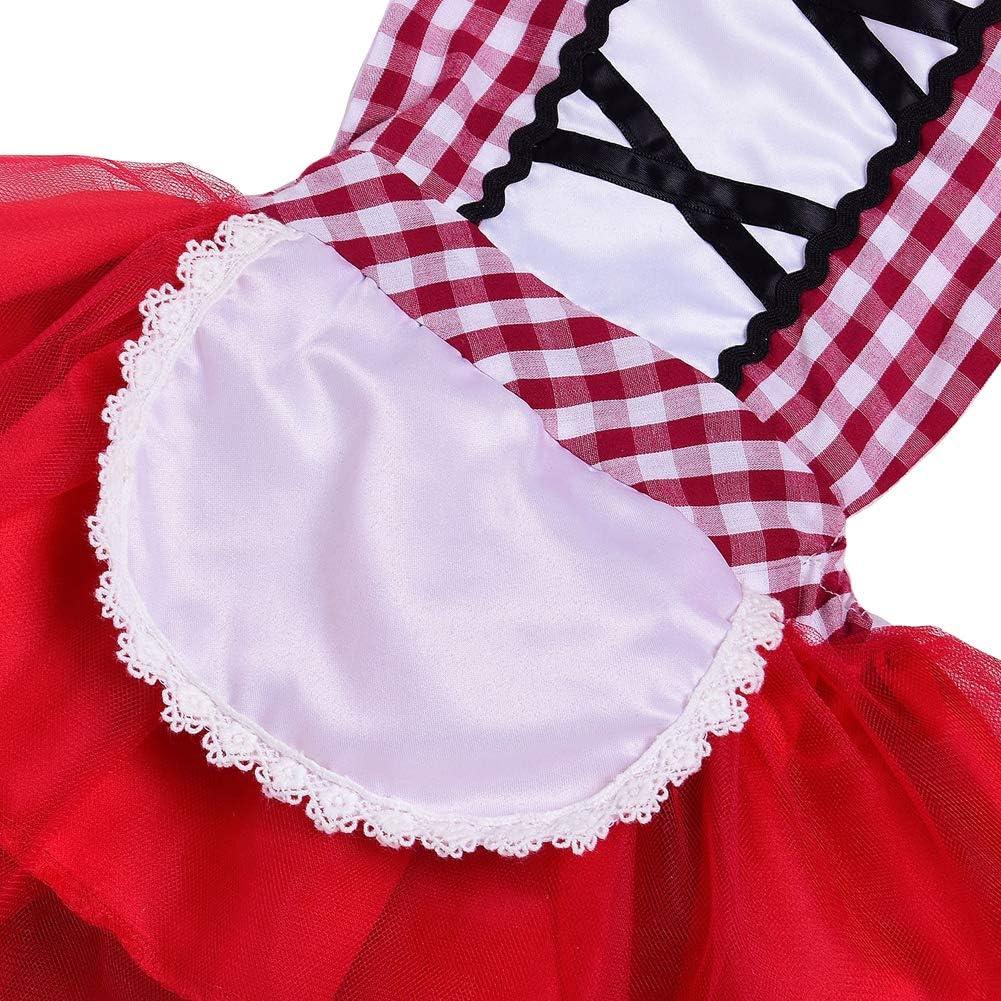 Costume di Carnevale da Cappuccetto Rosso Lusso Vestito per Bambina Ragazza Travestimento Veneziano Halloween Cosplay Principessa Festa Cerimonia Compleanno Natale Fotografia Sera Pageant Abiti